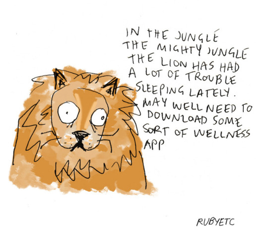 In the jungle, the lion has had a lot of trouble sleeping lately (cartoon)